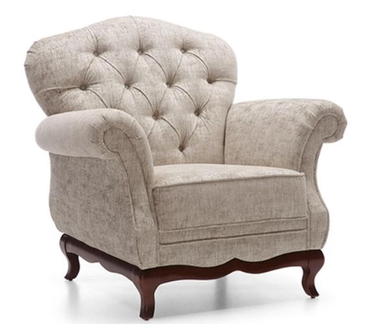 casa padrino fauteuil de salon chesterfield art deco de luxe greige marron fonce 99 x 90 x h 98 cm meubles de salon