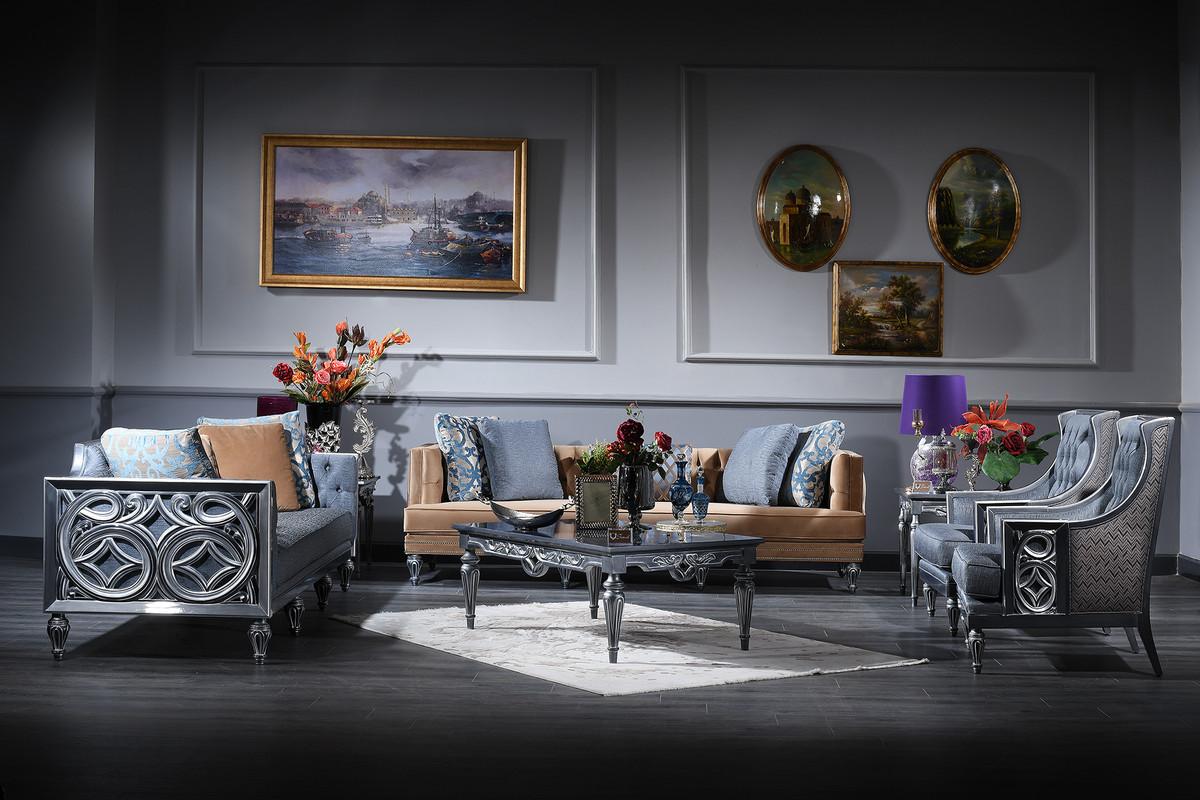 Casa Padrino Luxury Baroque Living Room Set Blue Beige