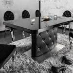 Casa Padrino Esstisch Schwarz Silber 160 200 X 90 X H 76 Cm Moderner Ausziehbarer Kuchentisch Mit Kunstleder Und Strasssteinen Esszimmer Mobel