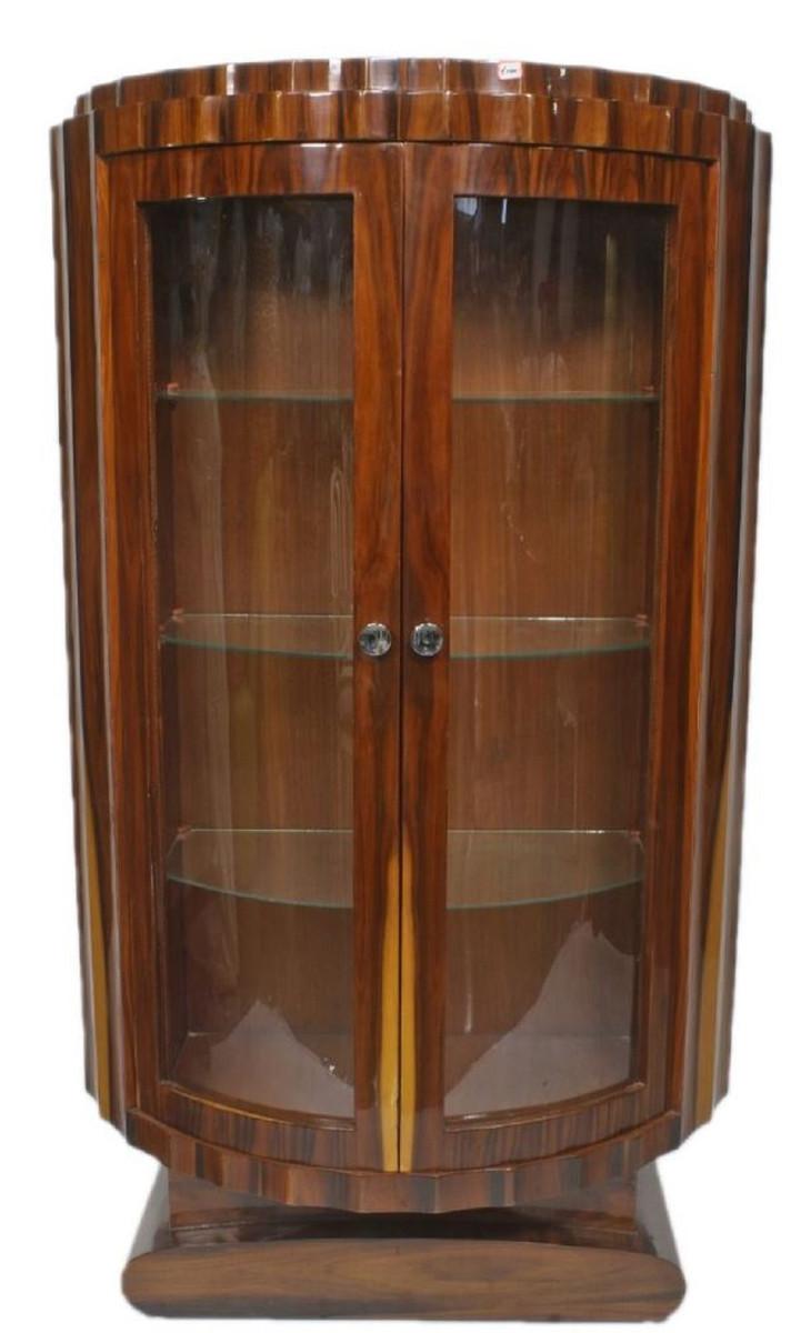casa padrino art deco vitrine braun 100 x 45 x h 165 cm halbrunder mahagoni vitrinenschrank mit 2 glasturen art deco wohnzimmer mobel