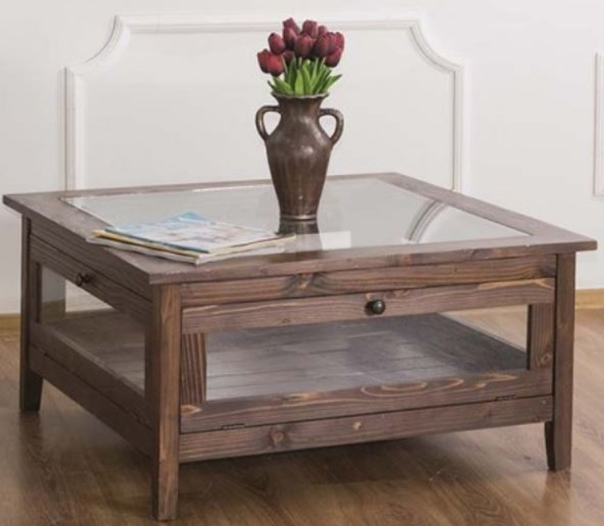 casa padrino country style coffee table with glass top brown 90 x 90 x h 45 cm solid wood living room table living room furniture in country