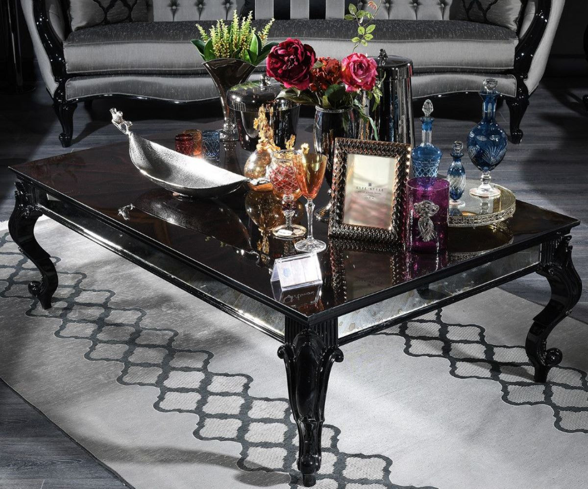 casa padrino luxury baroque coffee table black brown 140 x 90 x h 46 cm elegant solid wood living room table with glass top and mirror glass