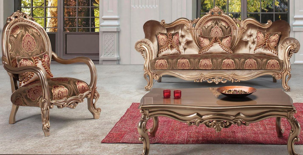 casa padrino luxury baroque living room set bronze brown bordeaux red 1 sofa 2 armchair 1 coffee table ornate living room furniture in