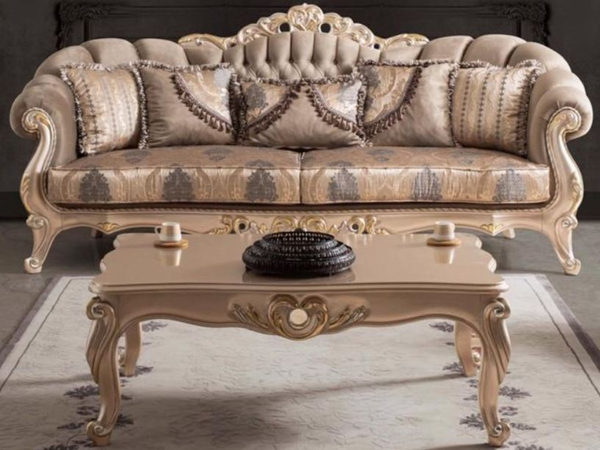 casa padrino luxury baroque living room sofa with cushions taupe bronze gold 243 x 89 x h 106 cm baroque furniture
