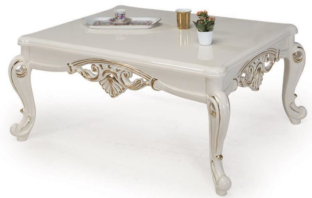 casa padrino luxury baroque coffee table white gold 115 x 85 x h 50 cm solid wood living room table in baroque style baroque furniture
