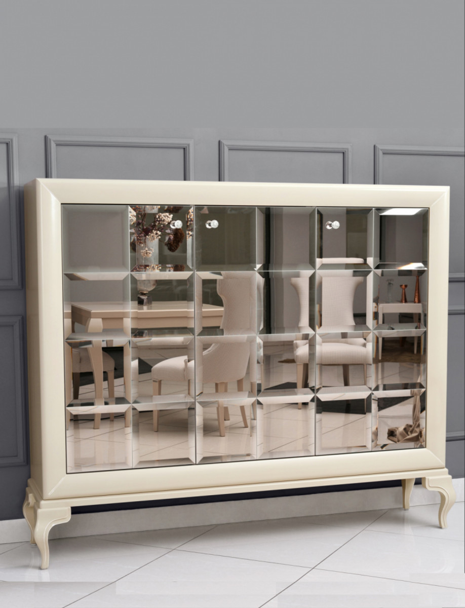 casa padrino luxury neoclassical dresser mirrored white gold 179 x h147 cm sideboard art deco furniture