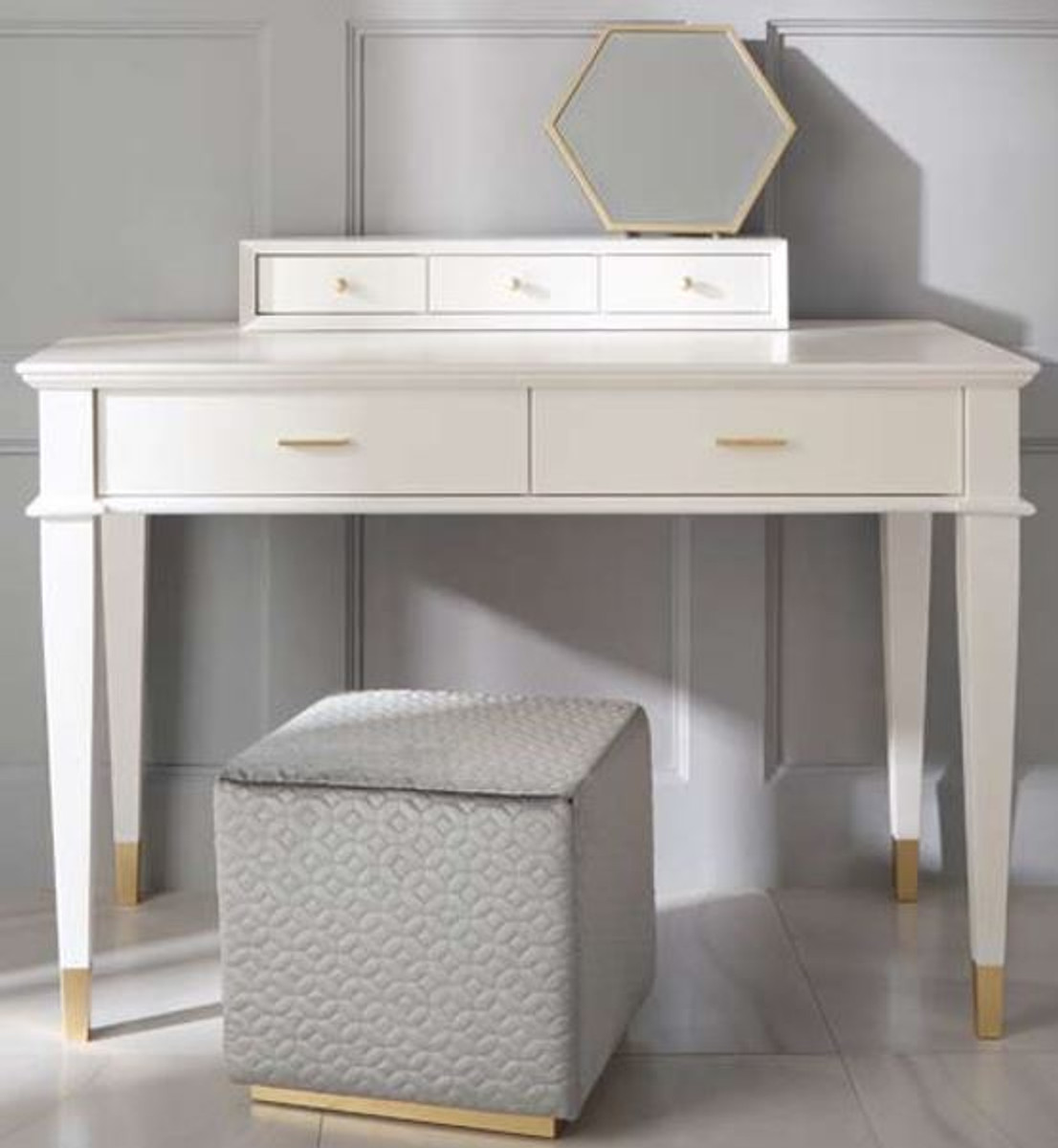 casa padrino luxury neoclassical dressing table with 5 drawers white gold 120 x 50 x h 81 cm art deco furniture