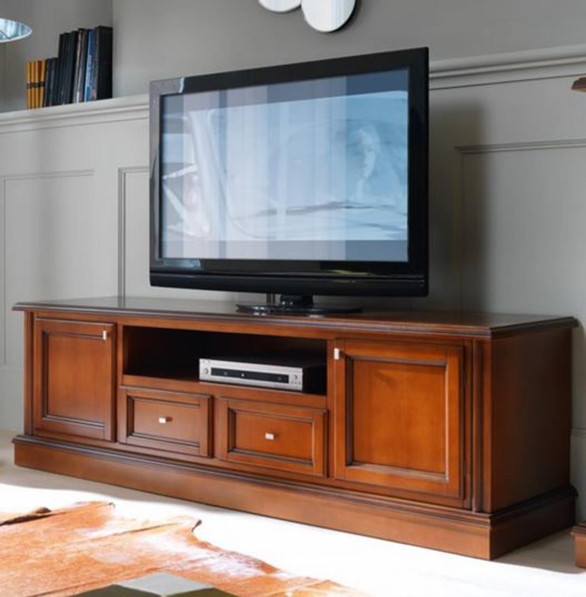 casa padrino commode luxe biedermeier tv 200 x 50 x h 61 cm meuble tv buffet meubles en bois marron