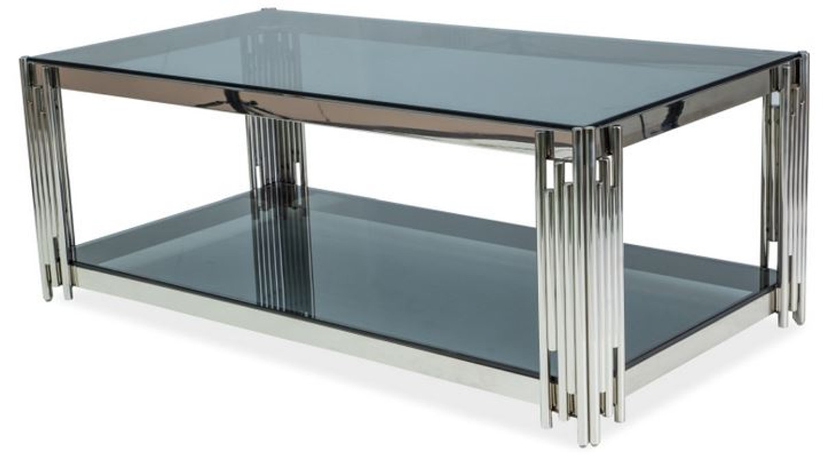 casa padrino luxury coffee table silver black 120 x 60 x h 40 cm stainless steel living room table with tinted glass tops luxury furniture
