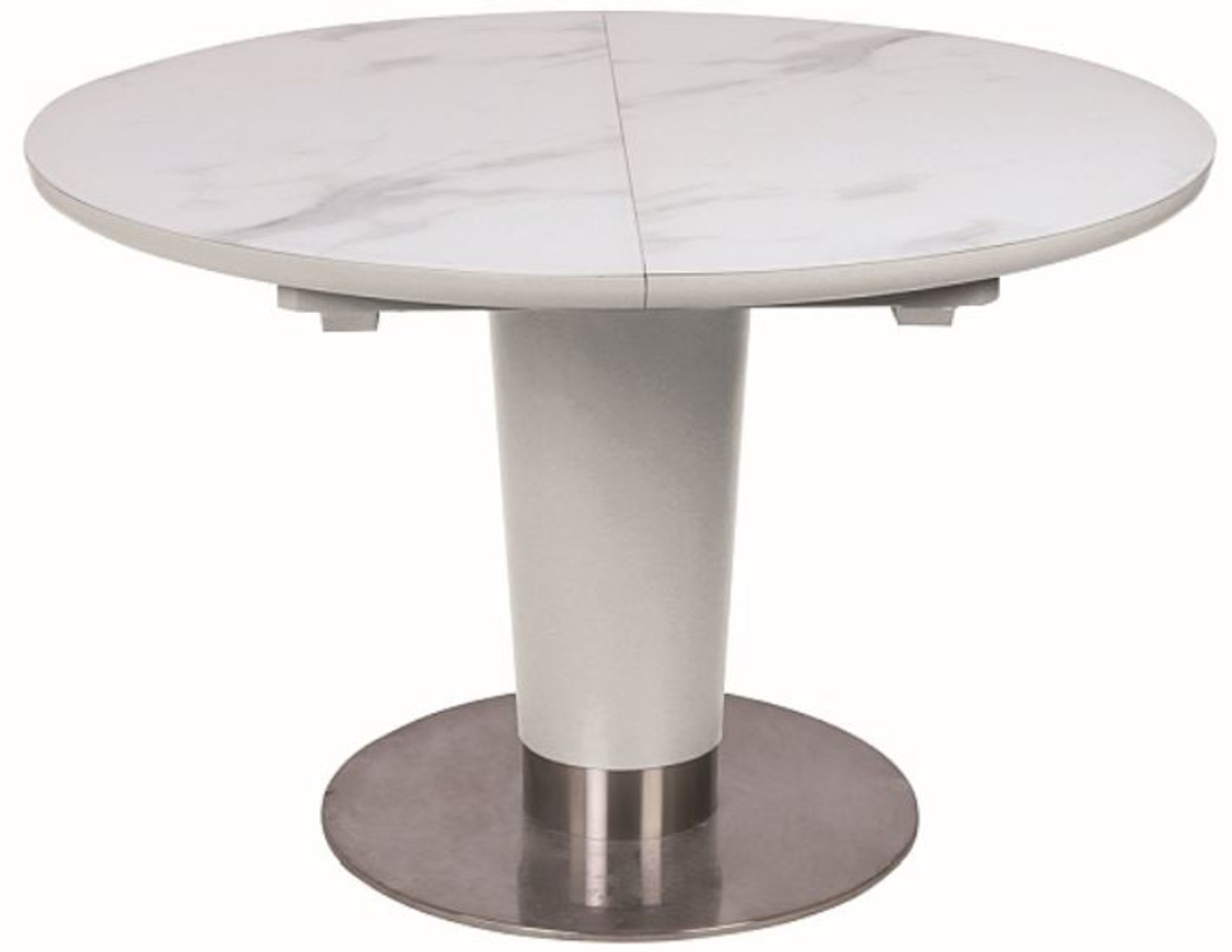 casa padrino luxury dining table matt white gray silver 120 160 x 120 x h 76 cm extendable dining room table with table top in marble look