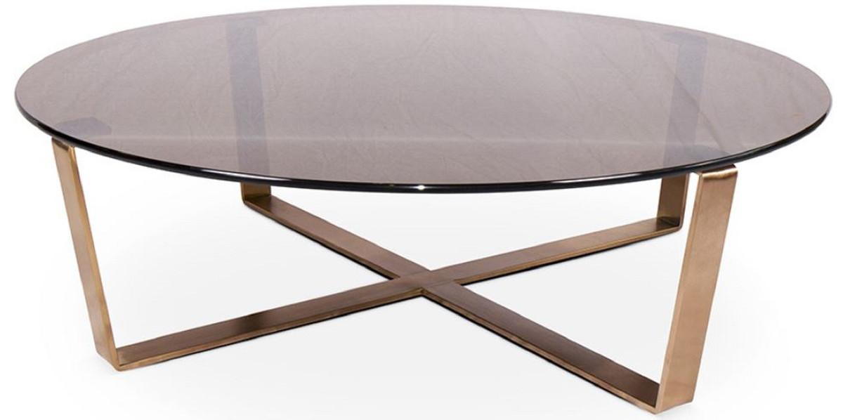 casa padrino table basse de luxe bronze or rose o 105 x h 38 cm table de salon ronde avec plaque de verre et structure en acier inoxydable