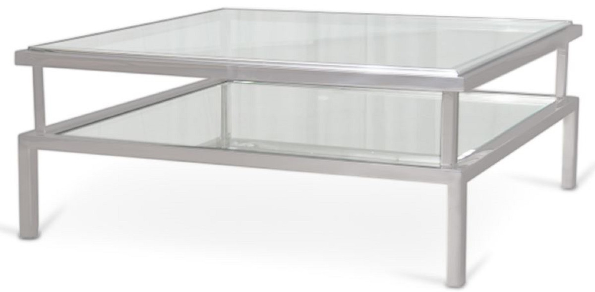casa padrino luxury coffee table silver 120 x 120 x h 42 cm modern living room table with tempered glass tops and stainless steel frame living