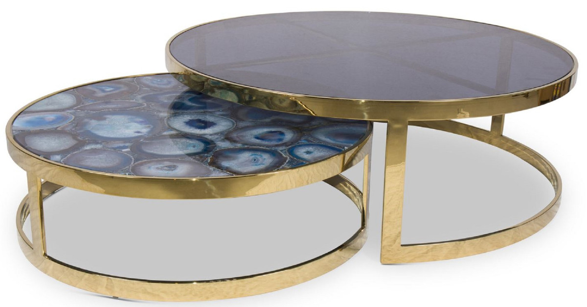 casa padrino luxury coffee table set blue gold 2 round living room tables with agate gemstone and glass top luxury quality luxury living room