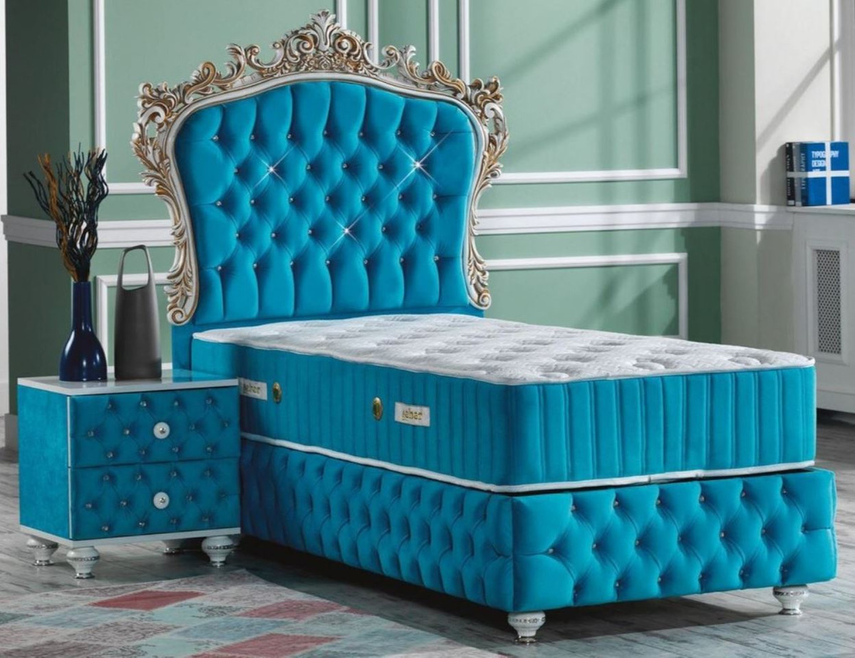 Casa Padrino Baroque Bedroom Set Turquoise White Silver Antique Gold Magnificent Single Bed With Bedside Table Bedroom Furniture In Baroque Style