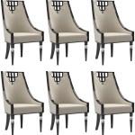 Casa Padrino Luxus Art Deco Esszimmer Stuhl Set Beige Schwarz Silber 55 X 55 X H 105 Cm Edles Kuchen Stuhle 6er Set Art Deco Esszimmer Mobel