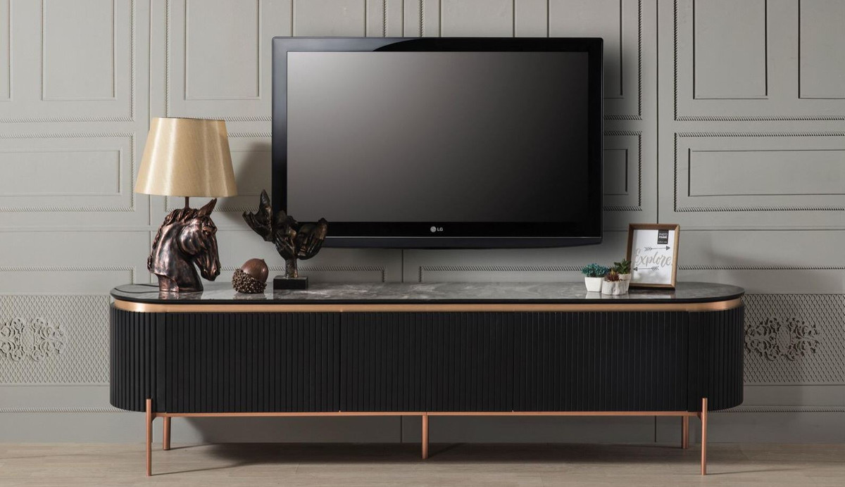 casa padrino luxury tv cabinet black copper 208 x 48 x h 57 cm tv cabinet with 4 doors and glass top in marble look luxury living room