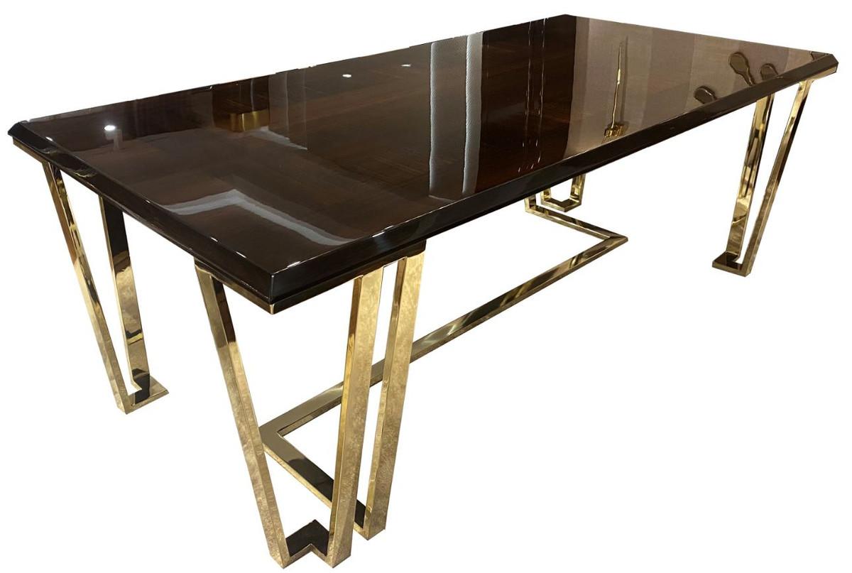 casa padrino table de salle a manger art deco de luxe brun fonce or 220 x 110 x h 77 cm table de salle a manger noble avec plaque de verre