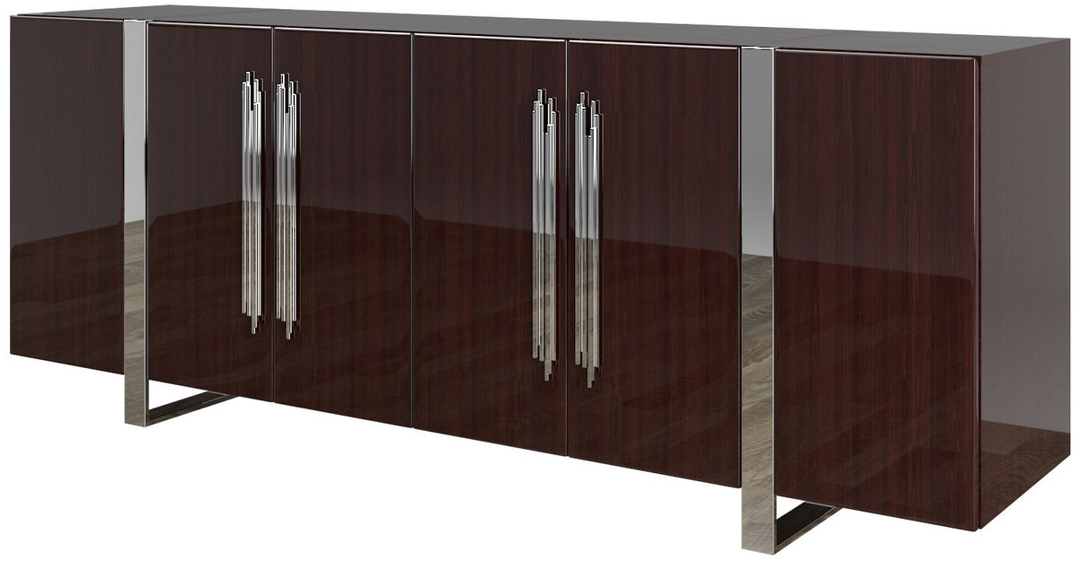 casa padrino buffet art deco de luxe brun fonce argent 222 x 50 x h 90 cm noble meuble de salon avec 6 portes mobilier art deco