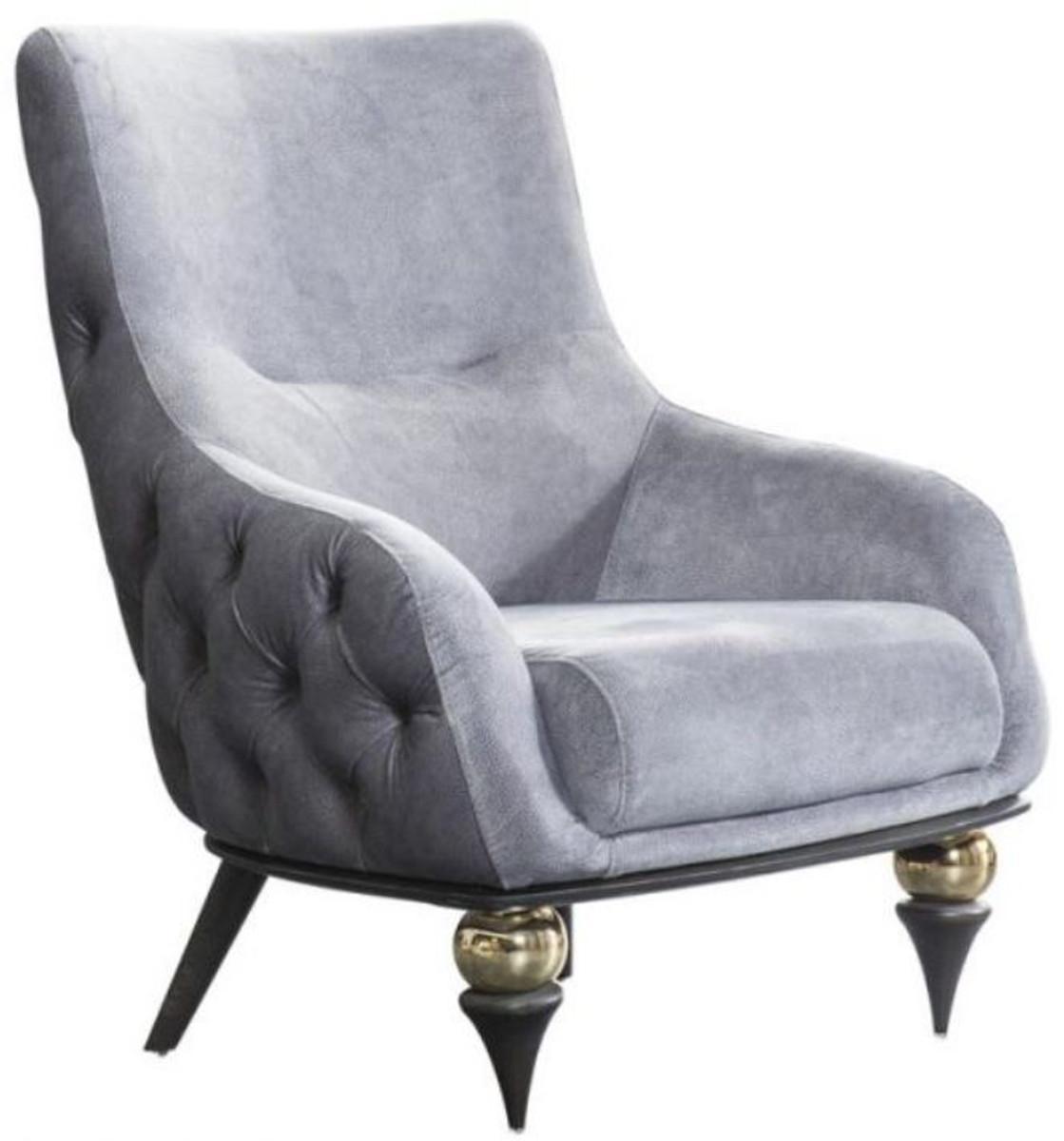casa padrino fauteuil art deco chesterfield de luxe gris clair noir laiton 80 x 95 x h 100 cm meubles de salon