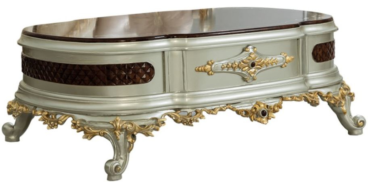 casa padrino luxury baroque coffee table dark brown silver gold 132 x 95 x h 50 cm magnificent solid wood living room table baroque furniture