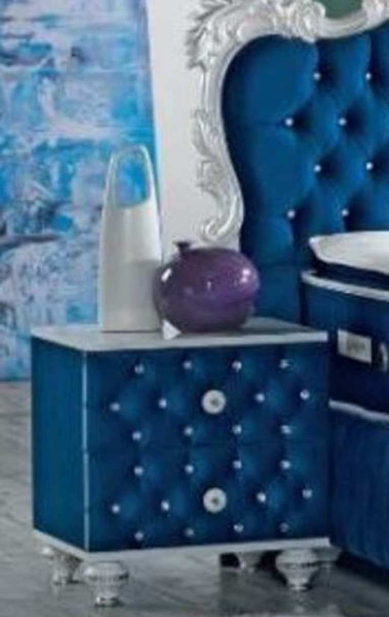 casa padrino baroque bedside table with rhinestones and 2 drawers royal blue white silver 50 x 50 x h 50 cm side table in baroque style