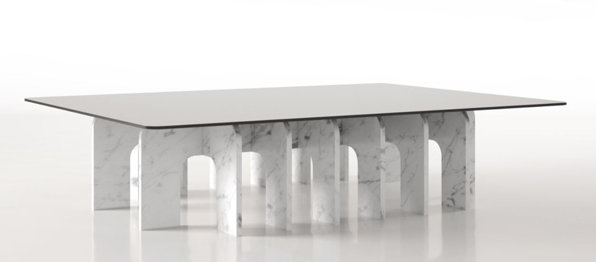 casa padrino luxury marble coffee table with glass top white 140 x 80 x h 35 cm rectangular living room table made of high quality spanish carrara