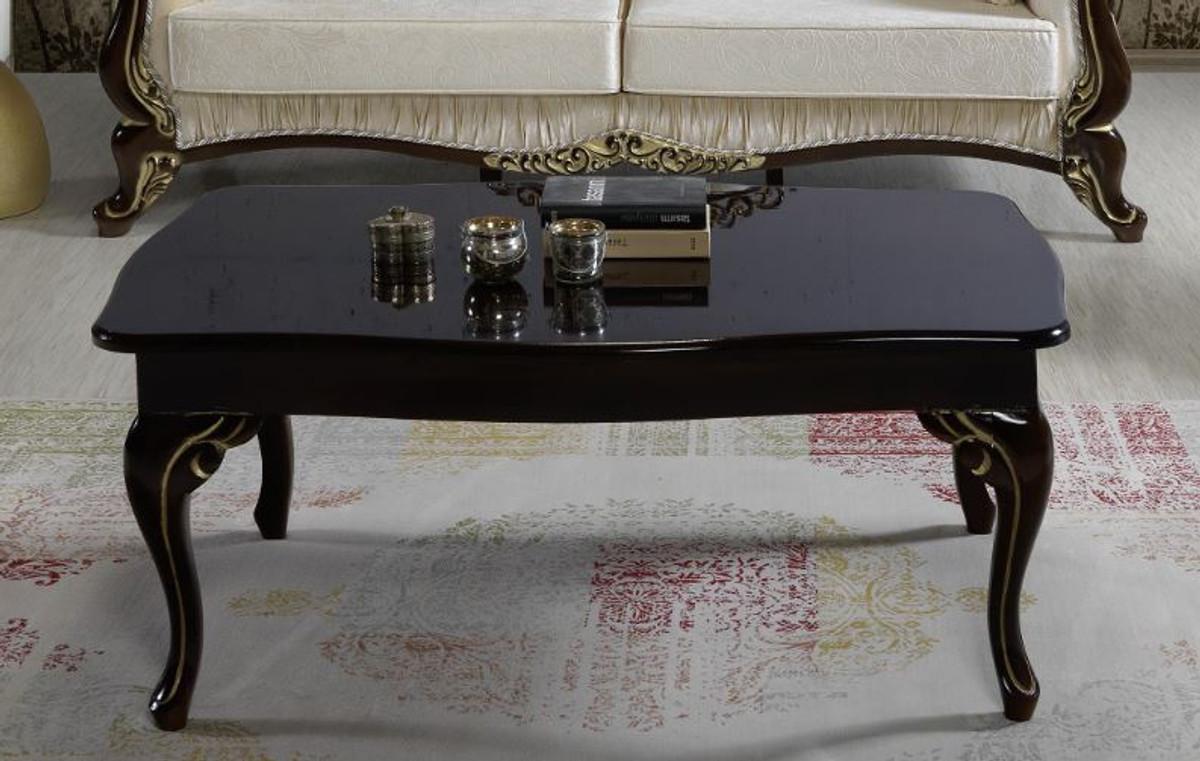 casa padrino table basse baroque noir or 105 x 74 x h 50 cm table de salon de style baroque mobilier de salon baroque