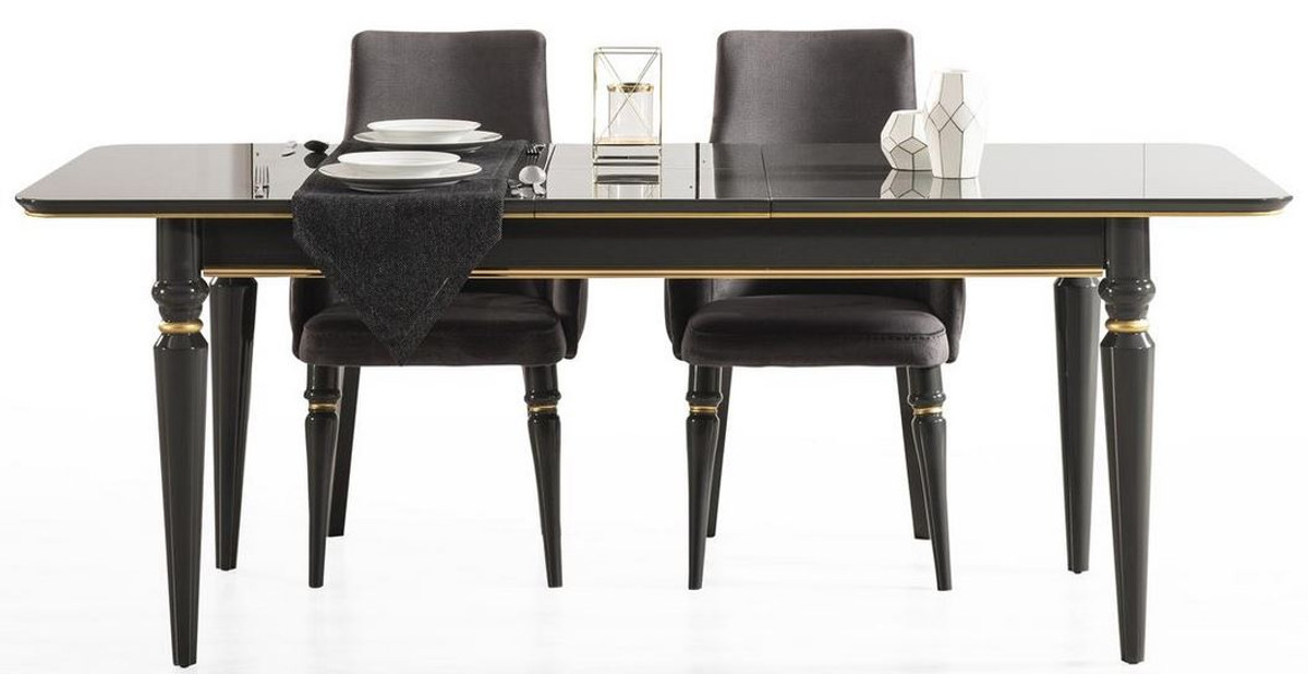 casa padrino luxury art deco dining table black gold 170 208 x 90 x h 76 cm noble extendable dining room table art deco dining room furniture