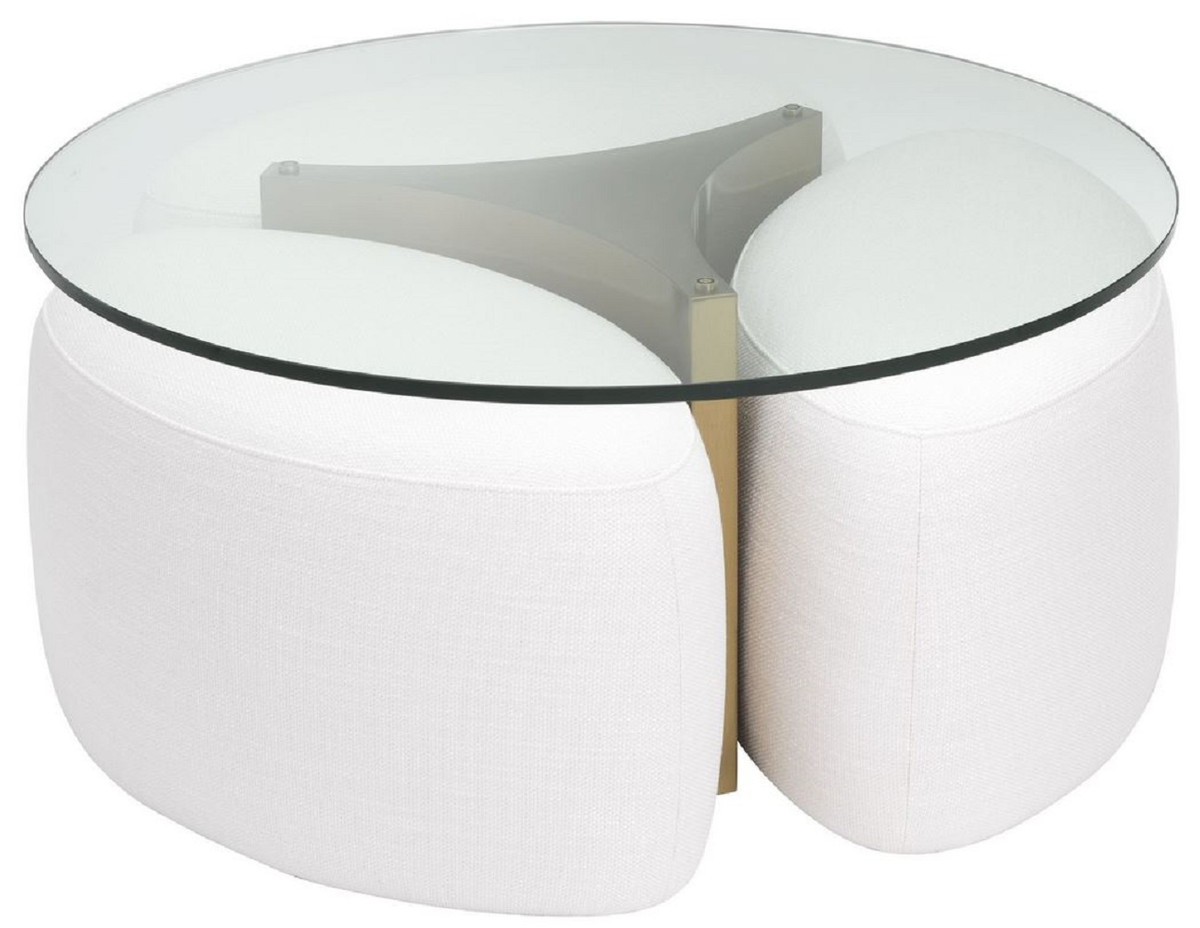 casa padrino luxury coffee table white antique brass o 104 x h 46 5 cm round stainless steel living room table with glass top and 3 elegant