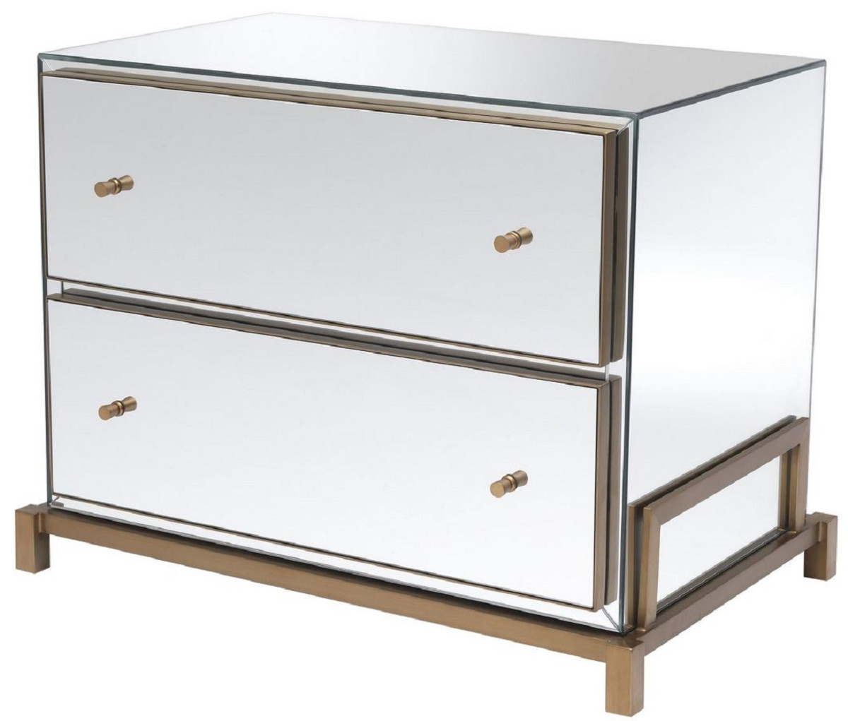 casa padrino luxury mirror glass bedside table brass 81 5 x 52 x h 62 cm mirrored nightstand with 2 drawers bedroom furniture