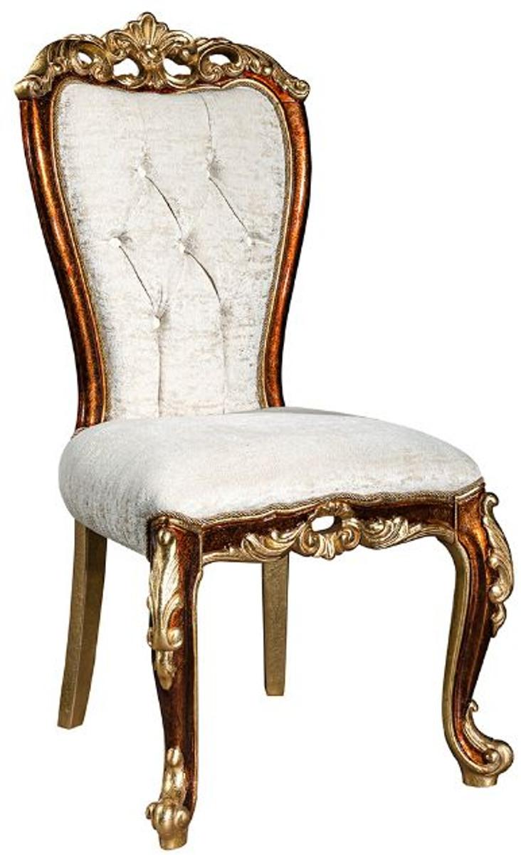 casa padrino ensemble de chaises de salle a manger baroque de luxe blanc or marron or 57 x 54 x h 115 cm ensemble de 6 chaises de cuisine