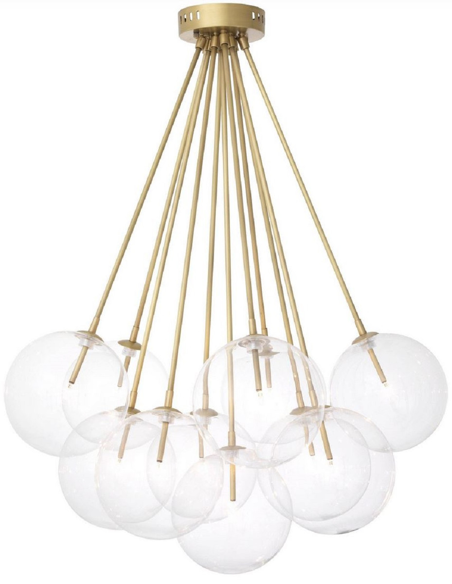 Casa Padrino Luxury Halogen Ceiling Lamp Antique Brass O 66 X H 94 5 Cm Dimmable Ceiling Light With Round Glass Lampshades Luxury Quality