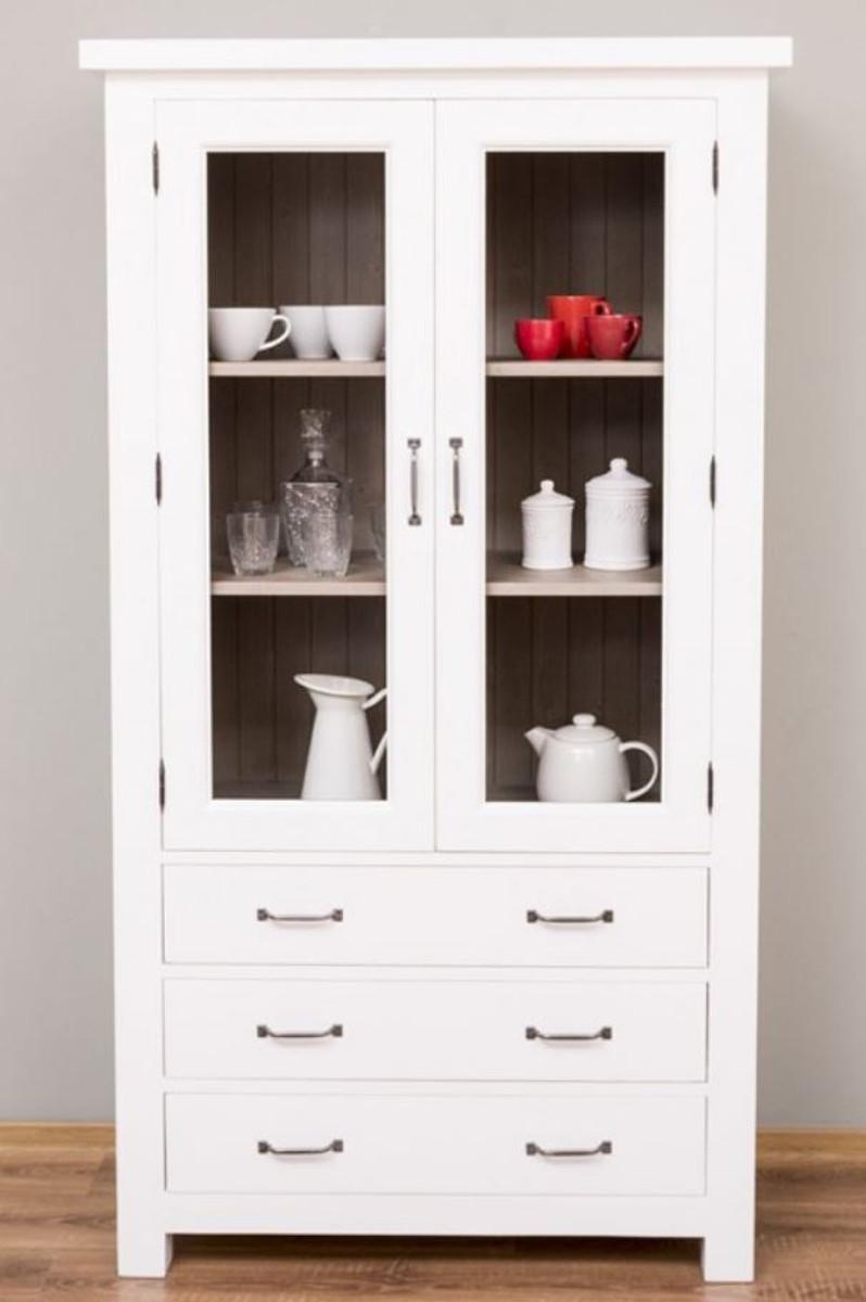casa padrino armoire de cuisine de style campagnard blanc gris 100 x 50 x h 180 cm vitrine en bois massif avec 2 portes vitrees et 3 tiroirs