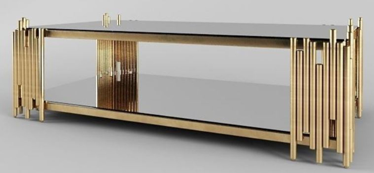 casa padrino table basse design or 100 x 60 x h 45 cm table de salon rectangulaire avec assiettes en verre mobilier de salon de luxe