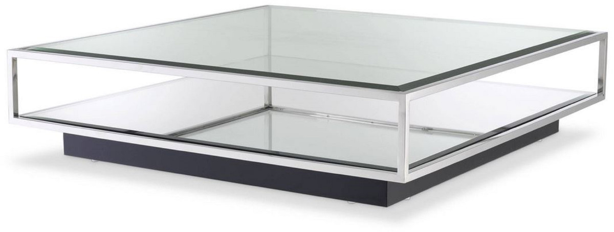 casa padrino luxury coffee table silver black 120 x 120 x h 30 cm square stainless steel living room table with mirror glass and glass top