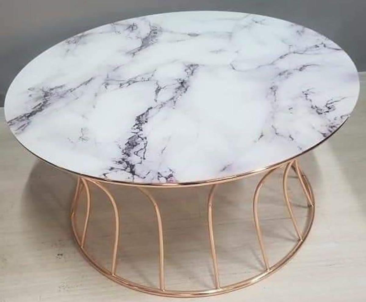 casa padrino table basse de luxe cuivre blanc o 90 x h 45 cm table de salon ronde avec plateau en marbre meubles de salon