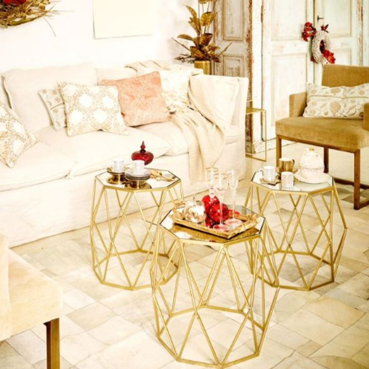 casa padrino luxury side table set gold 3 metal tables with glass top living room furniture luxury collection