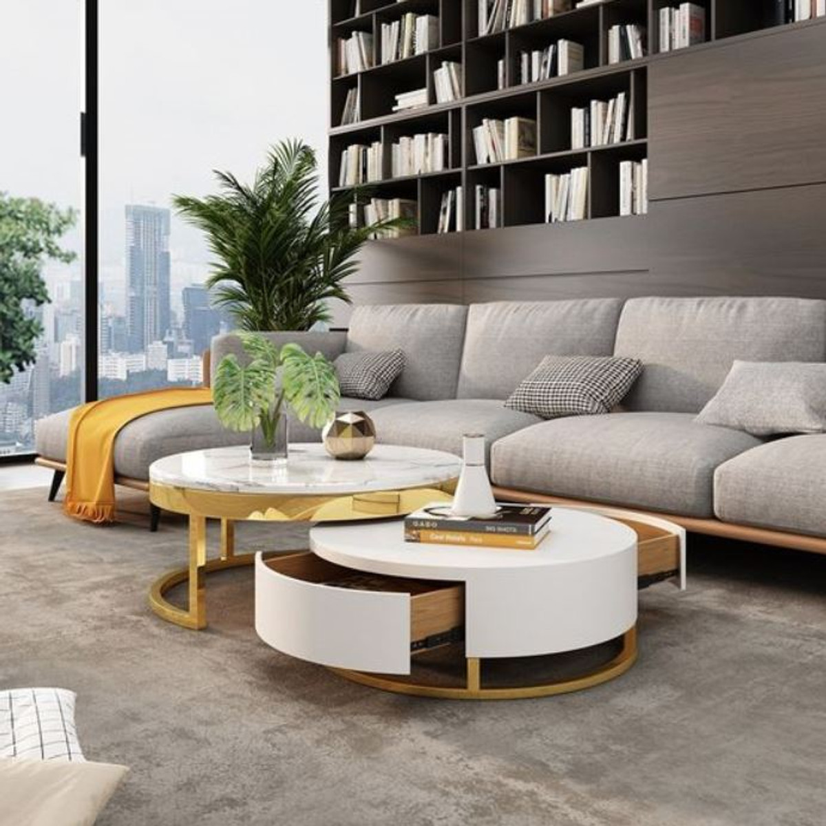 casa padrino ensemble de table basse de luxe blanc or 2 tables de salon rondes meubles de salon qualite de luxe