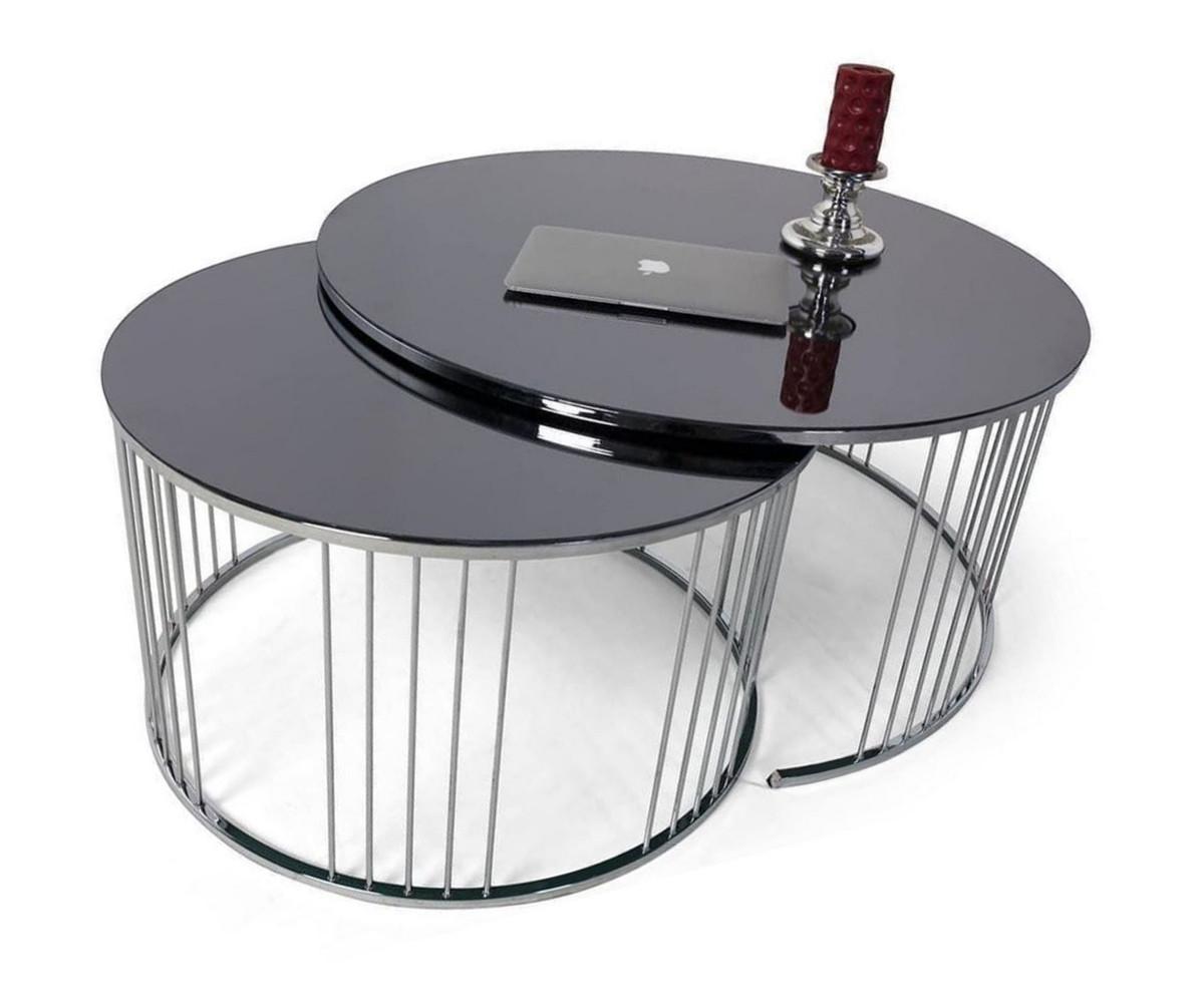 casa padrino ensemble de table basse de luxe argent noir 2 tables de salon rondes avec plateau en verre meubles de salon collection de luxe