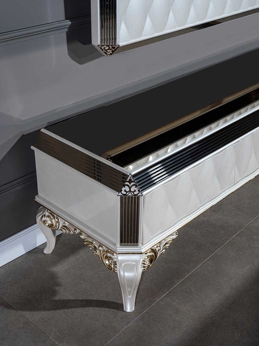 casa padrino armoire tv baroque de luxe blanc or noir 235 x 52 x h 54 cm buffet en bois massif noble avec mur tv armoire de salon meubles