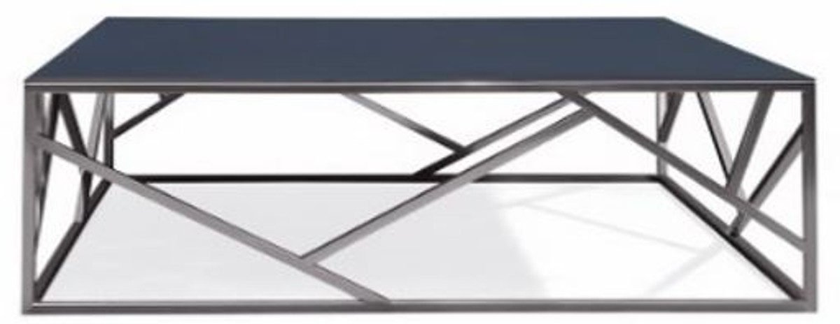 casa padrino luxury coffee table silver black 125 x 125 x h 43 cm square stainless steel living room table with glass top living room furniture