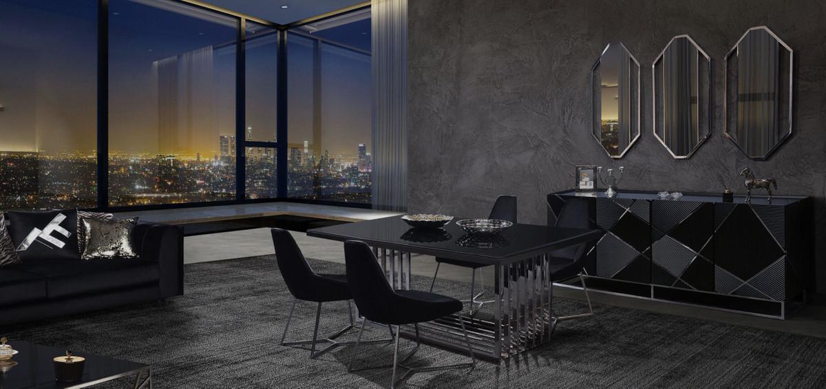 casa padrino ensemble de meubles de salle a manger de luxe argent noir 1 table a manger et 6 chaises de salle a manger meubles de salle a manger