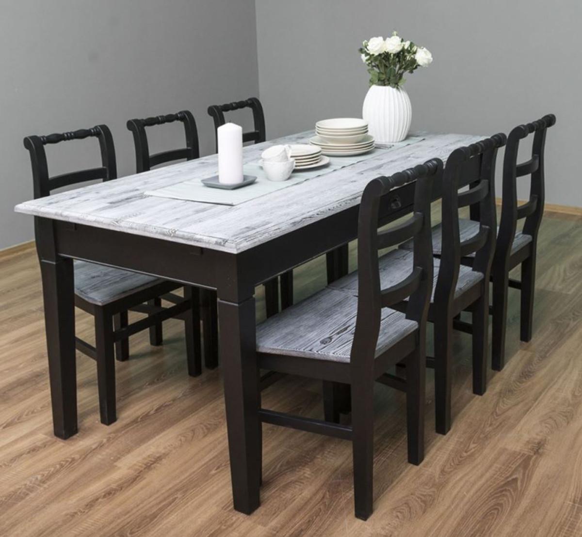 casa padrino ensemble de meubles de salle a manger de style campagnard blanc antique noir 1 table a manger et 6 chaises de salle a manger