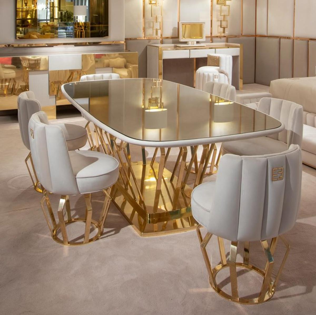 casa padrino ensemble de salle a manger design de luxe ivoire or 1 table a manger et 6 chaises de salle a manger meubles de salle a manger