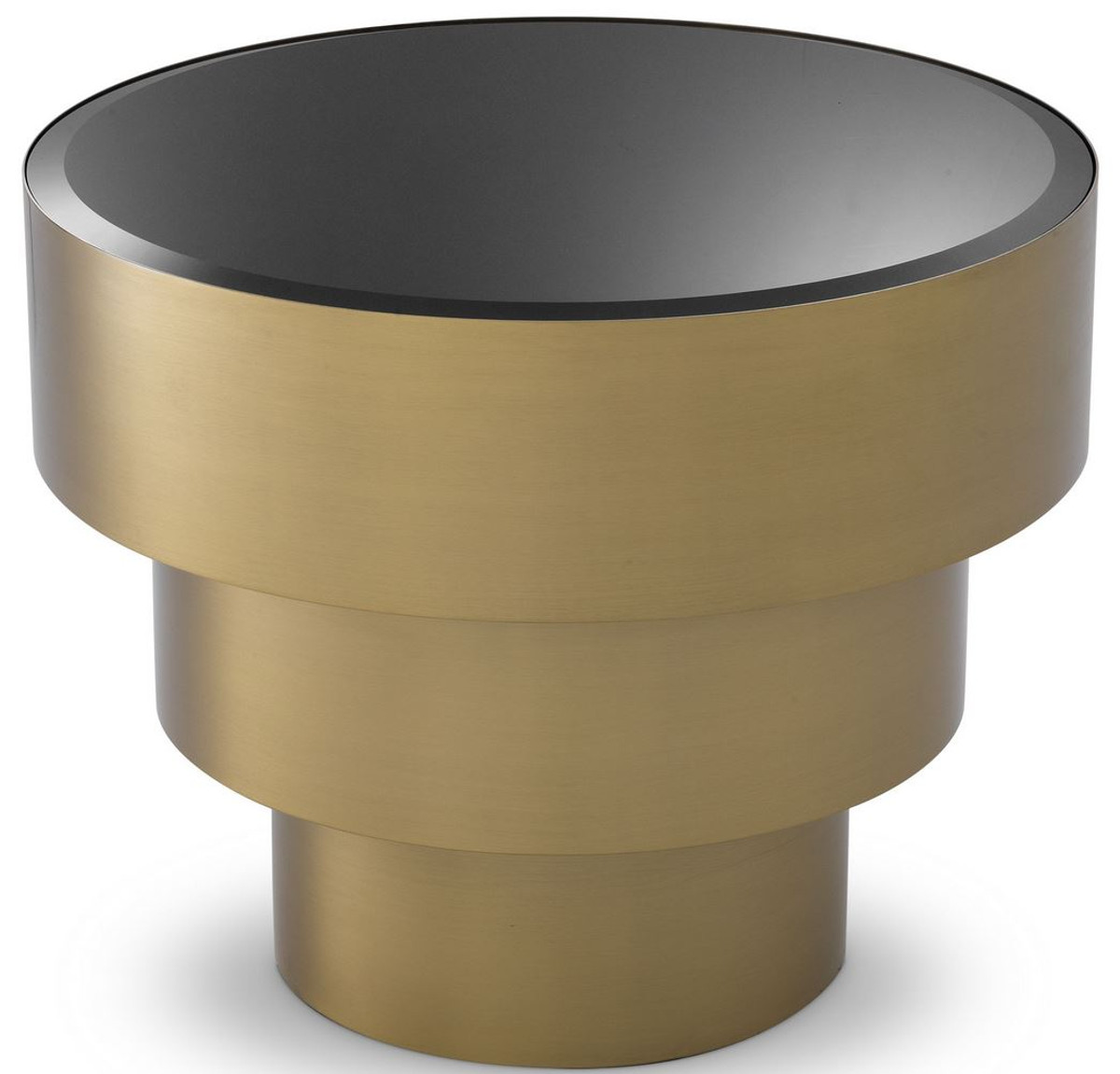 casa padrino luxury side table brass black o 55 x h 44 5 cm round stainless steel table with glass top living room furniture luxury furniture