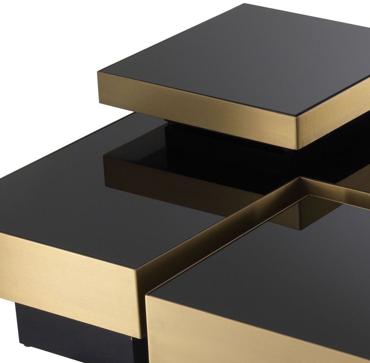 casa padrino luxury coffee table set brass black 2 l shaped living room tables with 2 square trays living room furniture luxury collection