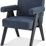 Casa Padrino Luxury Genuine Leather Dining Chair With Armrests Blue Black 64 X 70 X H 87 5 Cm Kitchen Chair With Fine Nubuck Buffalo Leather Luxury Dining Room Furniture
