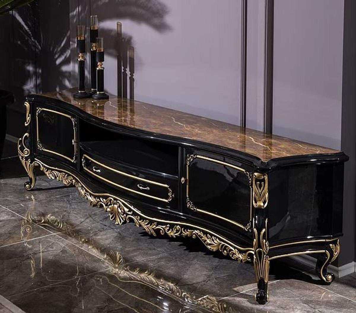 casa padrino armoire tv baroque de luxe noir or 228 x 48 x h 61 cm magnifique meuble tv en bois massif mobilier de salon baroque