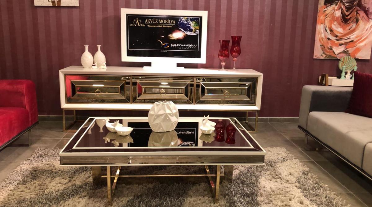 casa padrino table basse de luxe blanc or 120 x 80 x h 43 cm table de salon avec plateau en verre et verre miroir meubles de salon de luxe