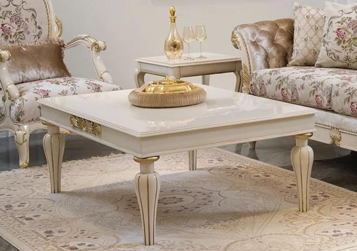 casa padrino luxury baroque coffee table white gold 125 x 90 x h 47 cm elegant solid wood living room table in baroque style baroque living